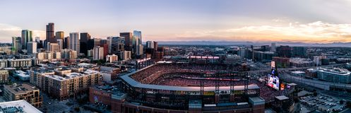 Beautiful drone photo of Denver Colorado at sunset royalty free stock photos