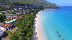 Beautiful aerial view of the Beau Vallon beach and Indian Ocean 2, Seychelles. Beautiful drone shot of the Beau Vallon beach and Indian Ocean, Seychelles stock video