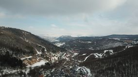 Beautiful snowy hills royalty free stock photography