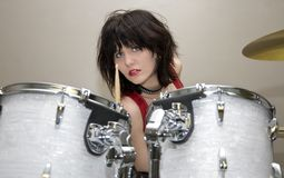 Beautiful Drummer Girl royalty free stock image