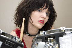 Beautiful Drummer Girl Stock Photography