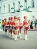 Beautiful drummer girls Stock Photography