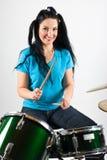 Beautiful drummer woman stock photo