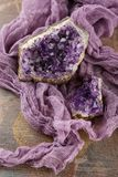 Beautiful amethyst druse close-up Royalty Free Stock Images