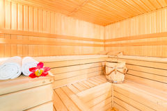 Beautiful dry Finnish sauna for spa Royalty Free Stock Images