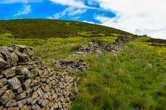 Beautiful dry stone walls of the Peak District along Derwent Edge, Peak District National Park. The beautiful dry stone walls of the Peak District along Derwent royalty free stock photos