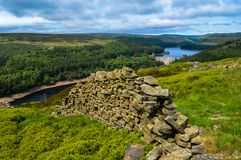 Beautiful dry stone walls of the Peak District along Derwent Edge, Peak District National Park. The beautiful dry stone walls of the Peak District along Derwent royalty free stock photography