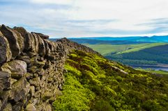 Beautiful dry stone walls of the Peak District along Derwent Edge, Peak District National Park royalty free stock image