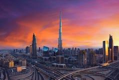 Beautiful Dubai skyline during colorful sunset Royalty Free Stock Images