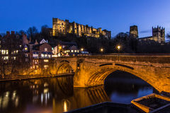 The beautiful Durham in Northern England. View from along the river of the lovely bridge Stock Images