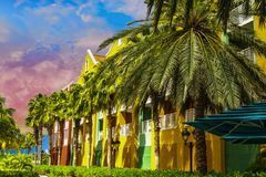 Dusk Light on Tropical Resort. Beautiful Dusk Light on Tropical Resort in Curacao Stock Photos