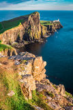 Beautiful dusk at the Neist point lighthouse in Isle of Skye, Scotland Stock Photography