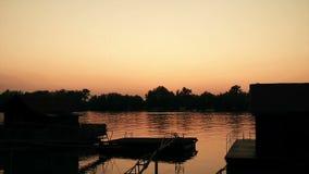 Beautiful Dusk Over River Sava 03 stock footage