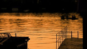 Beautiful Dusk On River Sava With Boat stock video footage