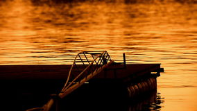 Beautiful dusk on river sava with pontoons stock video footage