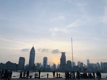 Beautiful dusk view in shanghai royalty free stock photography
