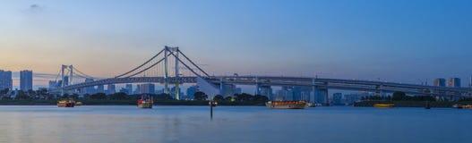 Beautiful dusky sky city scape of rainbow bridge important landm Royalty Free Stock Photo