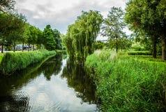 Beautiful Dutch city park elements close-up Stock Images