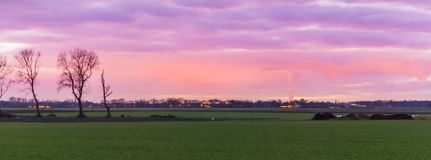 Beautiful dutch landscape of a grass field with buildings in the distance, nacreous clouds coloring the sky pink and purple, a stock images