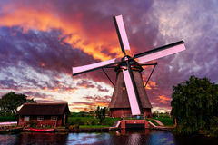 Beautiful Dutch sunset landscape Royalty Free Stock Image