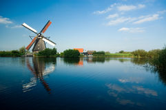 Beautiful dutch windmill lands Royalty Free Stock Photos