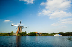 Beautiful dutch windmill lands royalty free stock photo