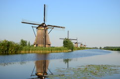 Beautiful dutch windmill landscape at Kinderdijk in the Netherlands.  Royalty Free Stock Images