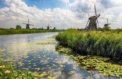 Beautiful dutch windmill landscape at Kinderdijk in the Netherla Stock Photos