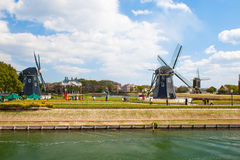 Beautiful Dutch windmill   Typical landscape in Ja Royalty Free Stock Image