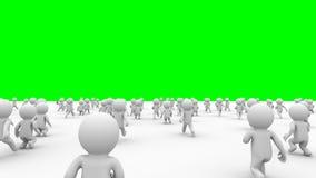 Beautiful dynamic 3d white cartoon crowd running green screen