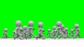 Beautiful dynamic 3d white cartoon crowd running green screen Stock Photography