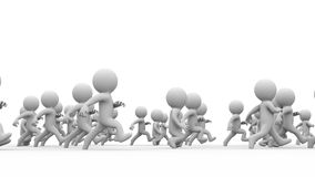 Beautiful dynamic 3d white cartoon crowd running