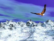 Eagle over snowy mountain - 3D render Royalty Free Stock Image