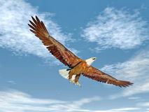 Eagle flying - 3D render. Beautiful eagle flying with wings wide open in blue cloudy sky Royalty Free Stock Photo