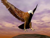 Eagle landing - 3D render. Beautiful eagle landing on a rock by cloudy day Royalty Free Stock Photography