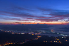 Beautiful early morning dawn twilight with sky sunrise at mounta Royalty Free Stock Photography