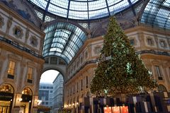 Beautiful early morning view to the decorated for Christmas Vittorio Emanuele II Gallery. stock photos