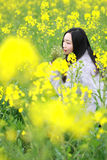 At beautiful early spring, a young woman stand in the middle of yellow rape flowers filed which is the biggest in Shanghai. A young woman stand in the middle of Stock Photo
