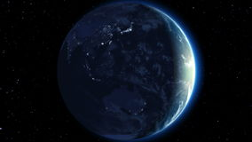 Beautiful Earth rotation 360 degrees. Day and Night. Video Ready for Your Sun. Looped animation. HD 1080 stock video