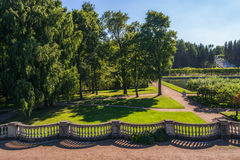 Beautiful Earthen wall in Peterhof. Beautiful cozy Earthen wall in the Western Part of The Lower Park in the Peterhof State Museum Preserve Stock Images