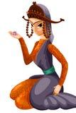 Beauty East girl character cartoon style  illustration whi Royalty Free Stock Photos