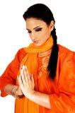 Indian girl praying. Royalty Free Stock Photography