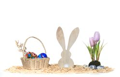 Beautiful Easter arrangement tulips and basket and bunny Royalty Free Stock Photos