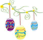 Beautiful Easter Background  with colorful Easter eggs  in the young green grass. Vector Illustrator Stock Photo