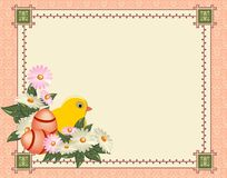Beautiful Easter background with flowers and place for text Stock Images