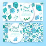 Beautiful easter banners set with eggs. Royalty Free Stock Images