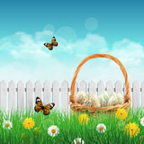 Beautiful Easter basket on a field Royalty Free Stock Photo