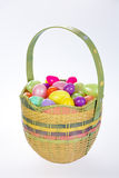 Beautiful Easter basket with plastic eggs Royalty Free Stock Photos