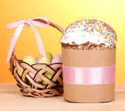 Beautiful Easter cake with eggs Stock Photo