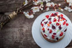 Beautiful Easter cake stands on a wooden texture surface, near lies flowering apricot. place under text. Easter sweet bread Orthodox kulich, paska, willow twigs Royalty Free Stock Photos